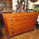 FINE EARLY 19TH CENTURY CHEST OF THREE SHORT AND THREE LONG GRADUATED DRAWERS, WITH SIDE PILLASTERS AND HARDWOOD TURNED HANDLES WITH MOTHER OF PEARL E