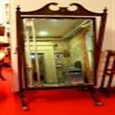 Edwarian Inlaid Mahogany Cheval Mirror with Brass Claw Feet