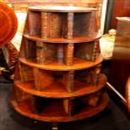 Unusual Victorian Mahogany Revolving Bookcase with Dummy Leather Book Spines