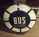 Lot Number: 1048 - 1950's blue and white BUS STOP sign.