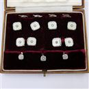 Cased Mother of Pearl and Diamond Stud Set