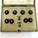 Cased Carved Onyx and Diamond Stud Set